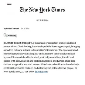 "#BARObyChefsSociety is #featured on #TheNewYorkTimes?? ""A think tank organization of chefs and food personalities, Chefs Society, has developed this Korean gastro pub, bringing a modern culinary outlook to Manhattan's Koreatown. The spacious wood-paneled restaurant with a long bar and a menu of many traditional and updated Korean dishes like braised pork belly on endives, kimchi beef sliders with aioli, seafood and scallion pancakes, and Korean-style fried chicken wings with assorted sauces. Wine lovers should note the relatively gentle $30 per bottle corkage, and allowing two bottles for two people: 34 West 32nd Street, 212-736-0029, baronyc.com."""