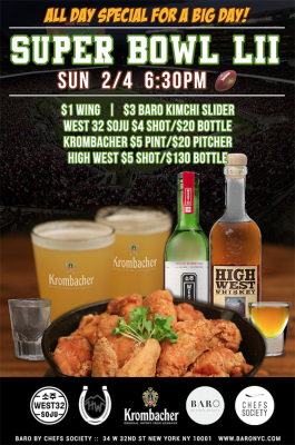 baro nyc super bowl lii special wings beer happy hour sports bar new york restaurant bar lounge
